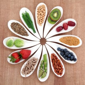 Superfood health food selection in white bowls over papyrus background.